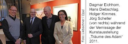 Dagmar Eichhorn, Hans Diebschlag, Holger Kimmes, Jörg Scheller während der Vernissage der Kunstausstellung
